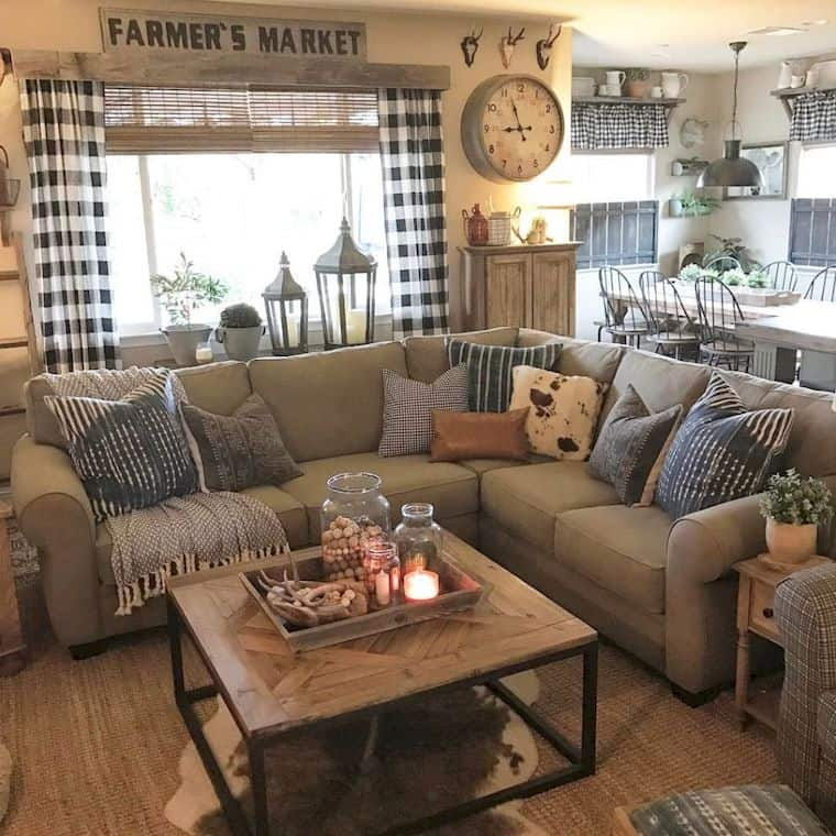 200+ Creative Farmhouse Decor Ideas for a Cozy Home | So ... on Curtains For Farmhouse Living Room  id=52425