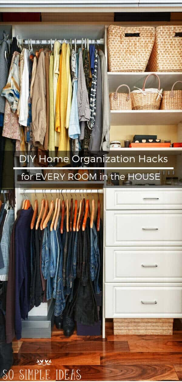 Could your home use some declutterin' lovin'? Try these DIY home organization hacks. These tips might not fix extreme hoarding, but they meet basic needs. #organization #homedecor | sosimpleideas.com