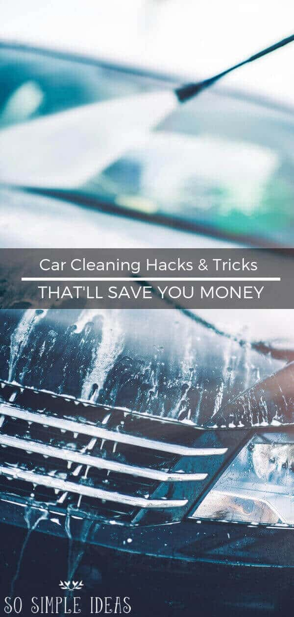 Getting your vehicle detailed can cost a couple hundred bucks or more. Instead, try these car cleaning hacks and tricks to save you money. #auto #cleaning #cleaninghacks #car
