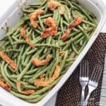 Pan of homemade gluten free green bean casserole from scratch