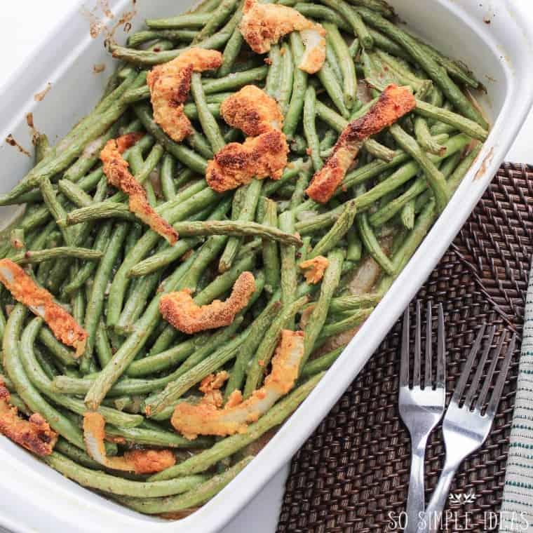 Pan of homemade gluten free green bean casserole from scratch