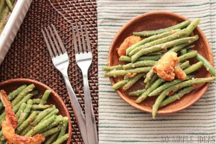 Serving low carb gluten free green bean casserole