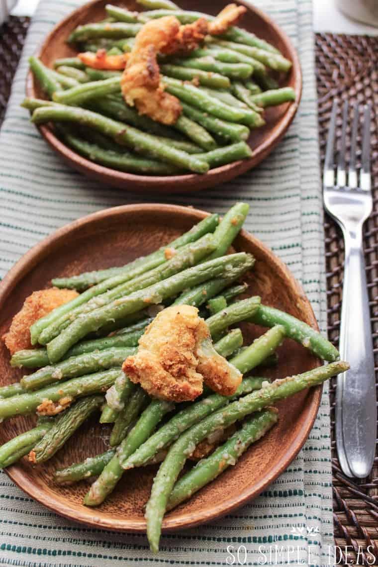 Plates of gluten free green bean casserole