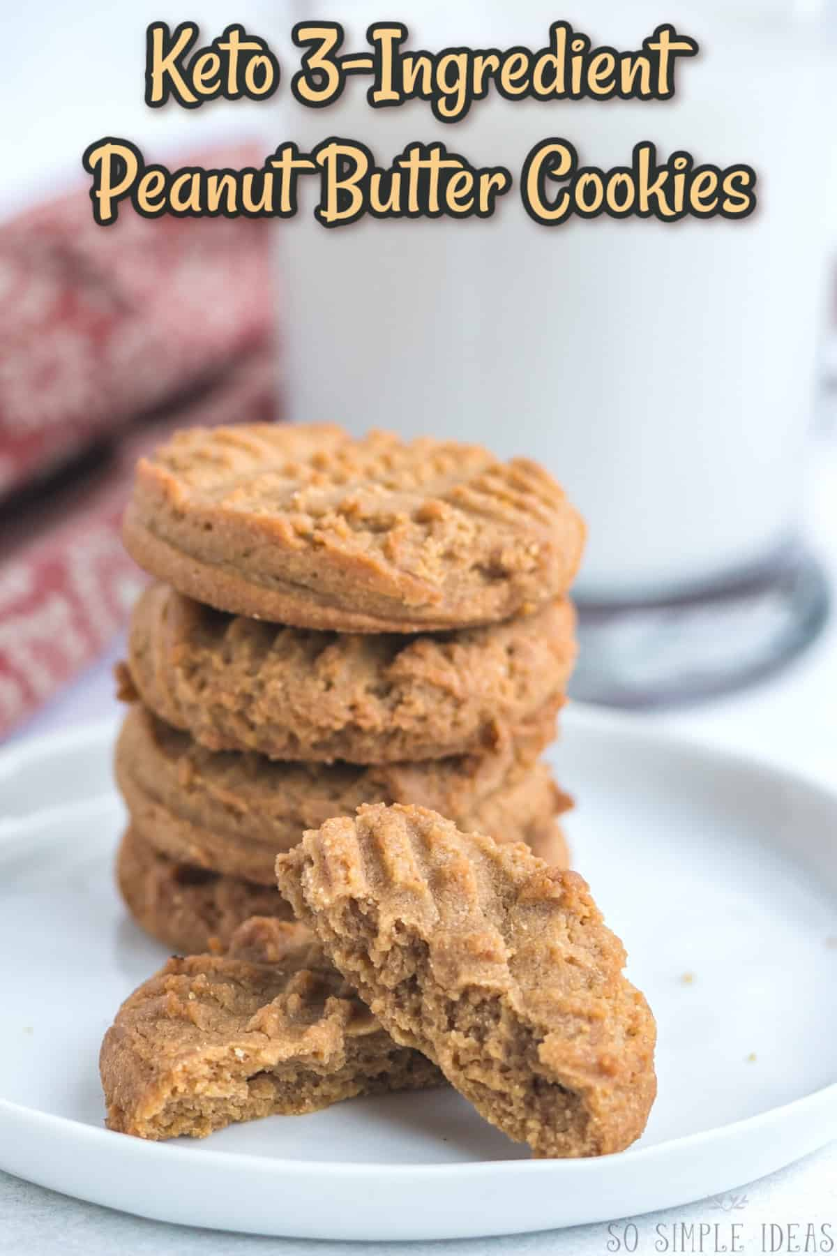 3 ingredient peanut butter cookies keto cover image