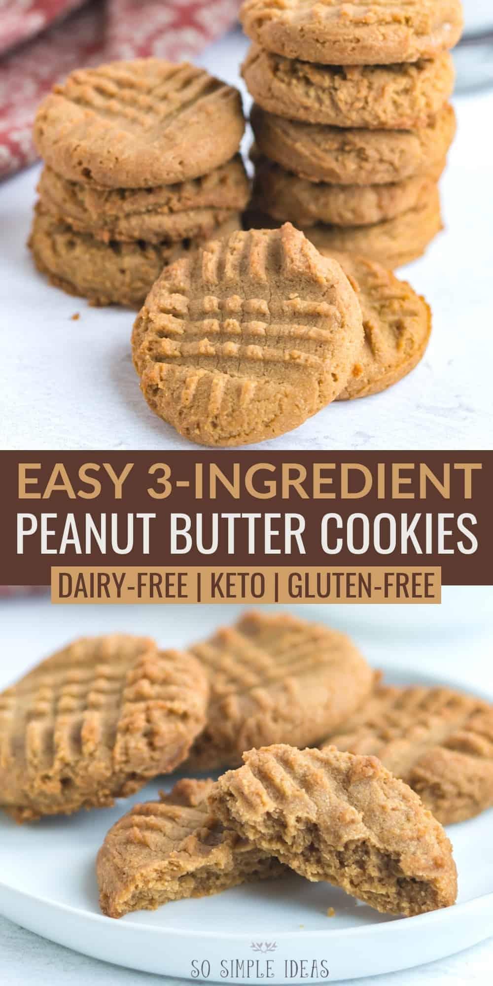 3 ingredient peanut butter cookies pinterest image