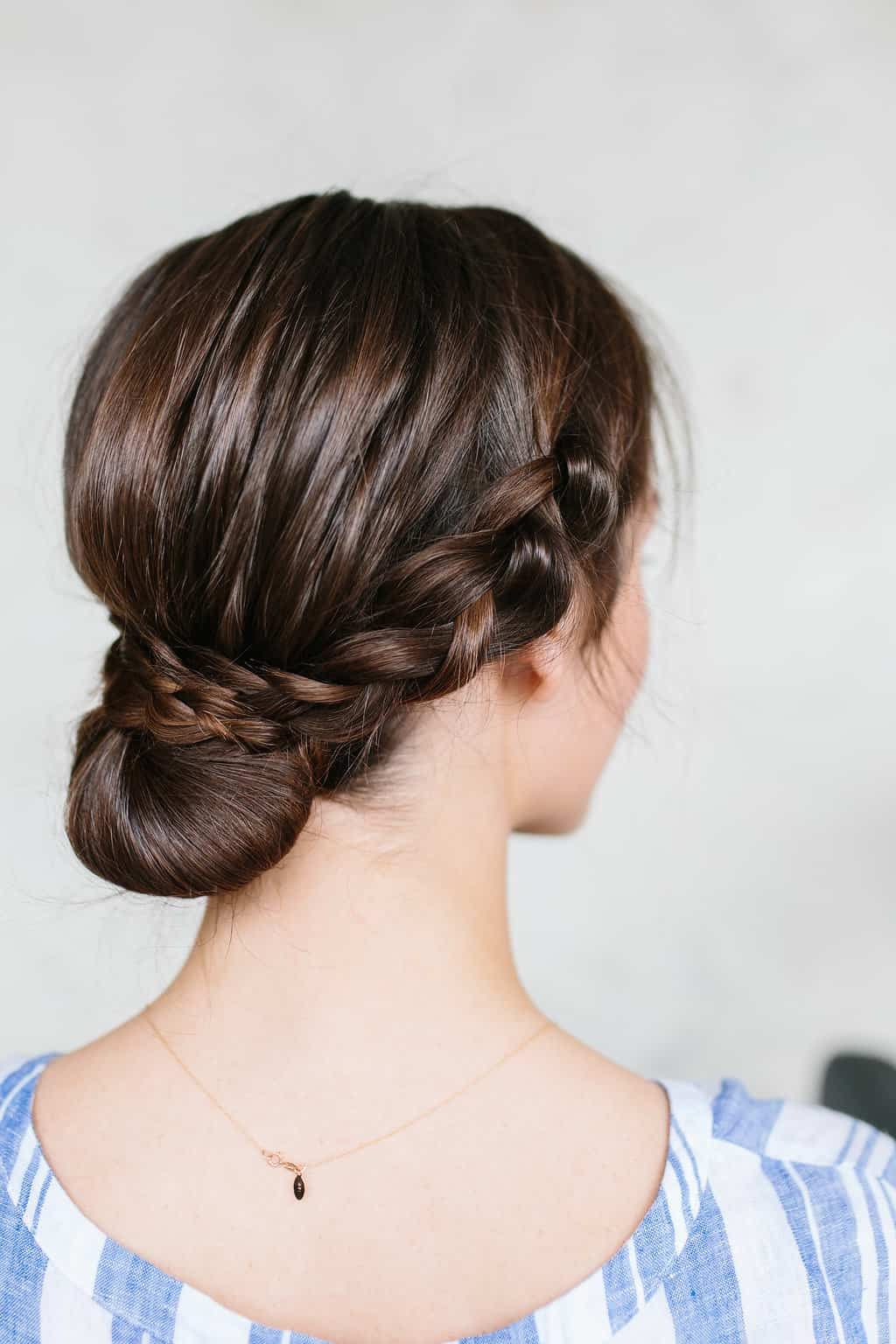 low braided bun for long hair
