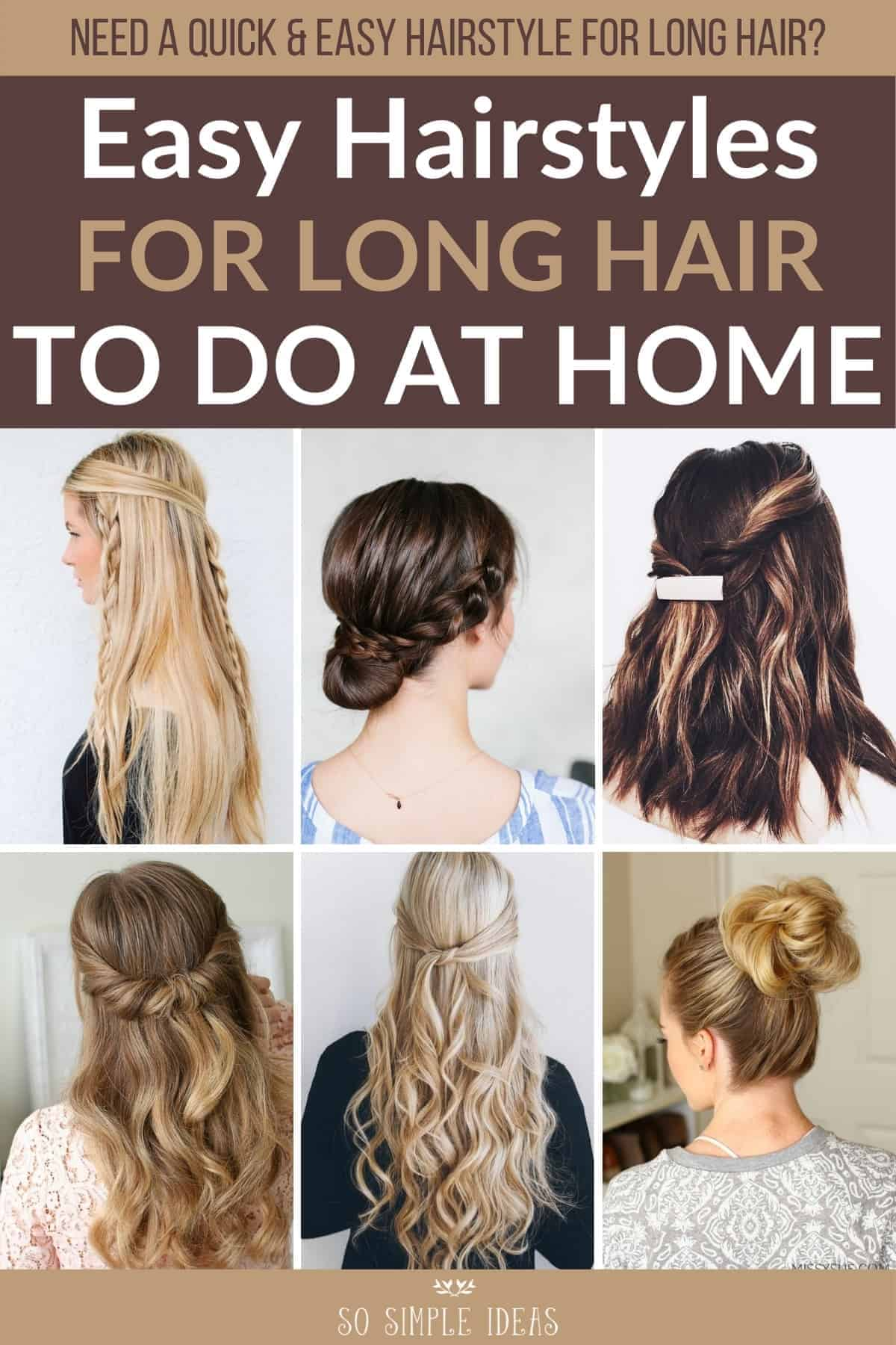 easy hairstyles for long hair to do at home pinterest image