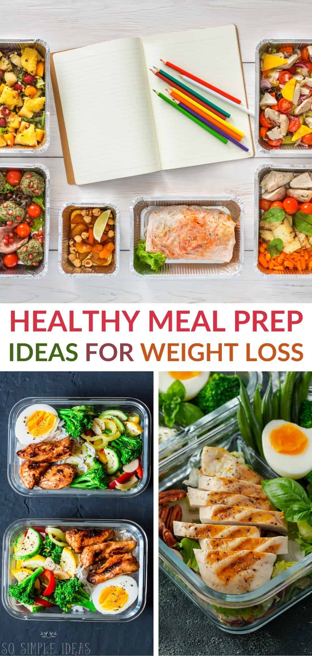 healthy meal prep ideas for weight loss pinterest image