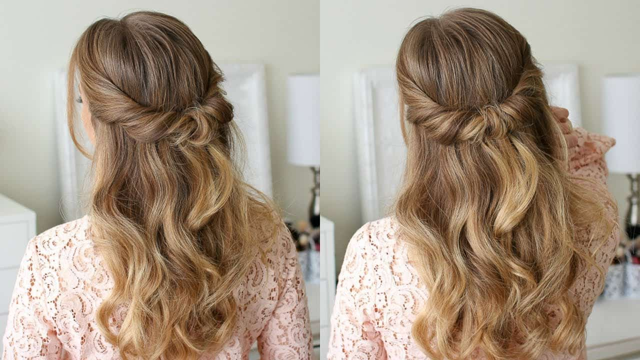 inverted half updo