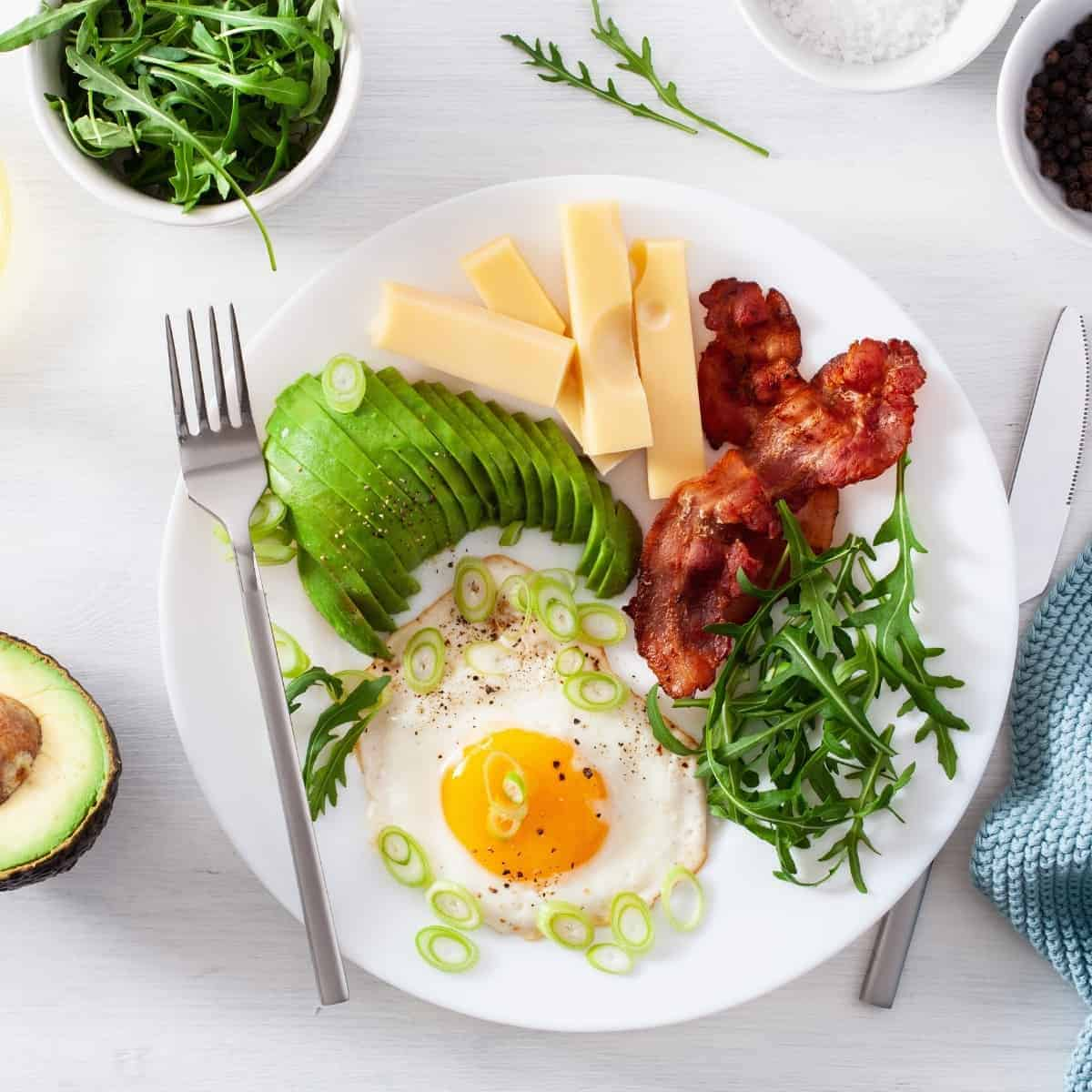 keto macro meal for weight loss on white plate