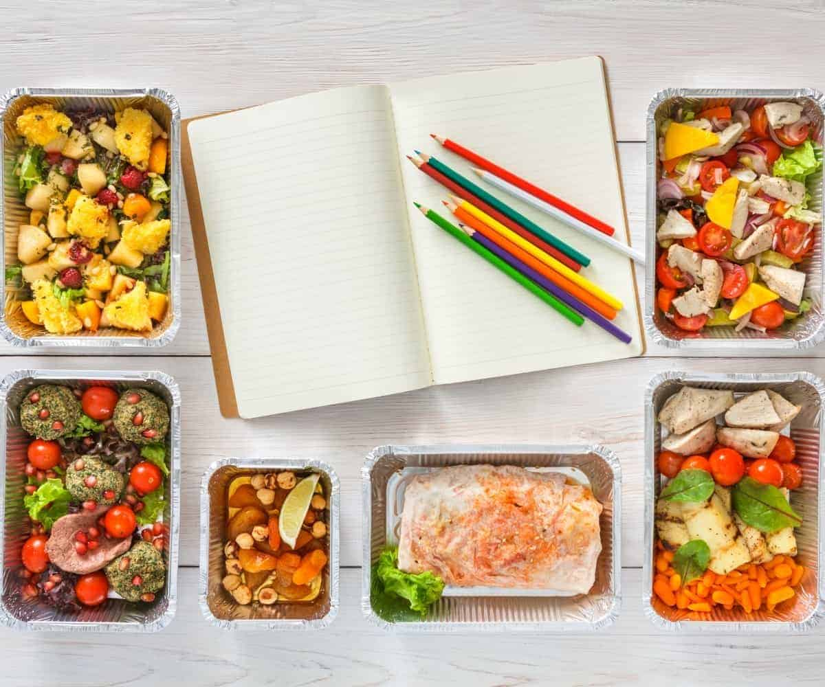 meal prep planner with premade foods in containers