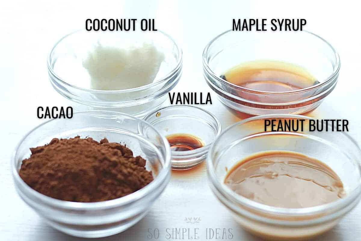 ingredients for the peanut butter cups