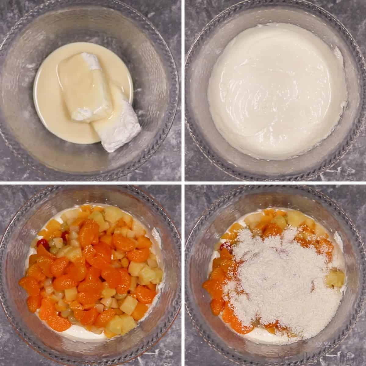 preparing the recipe in a mixing bowl