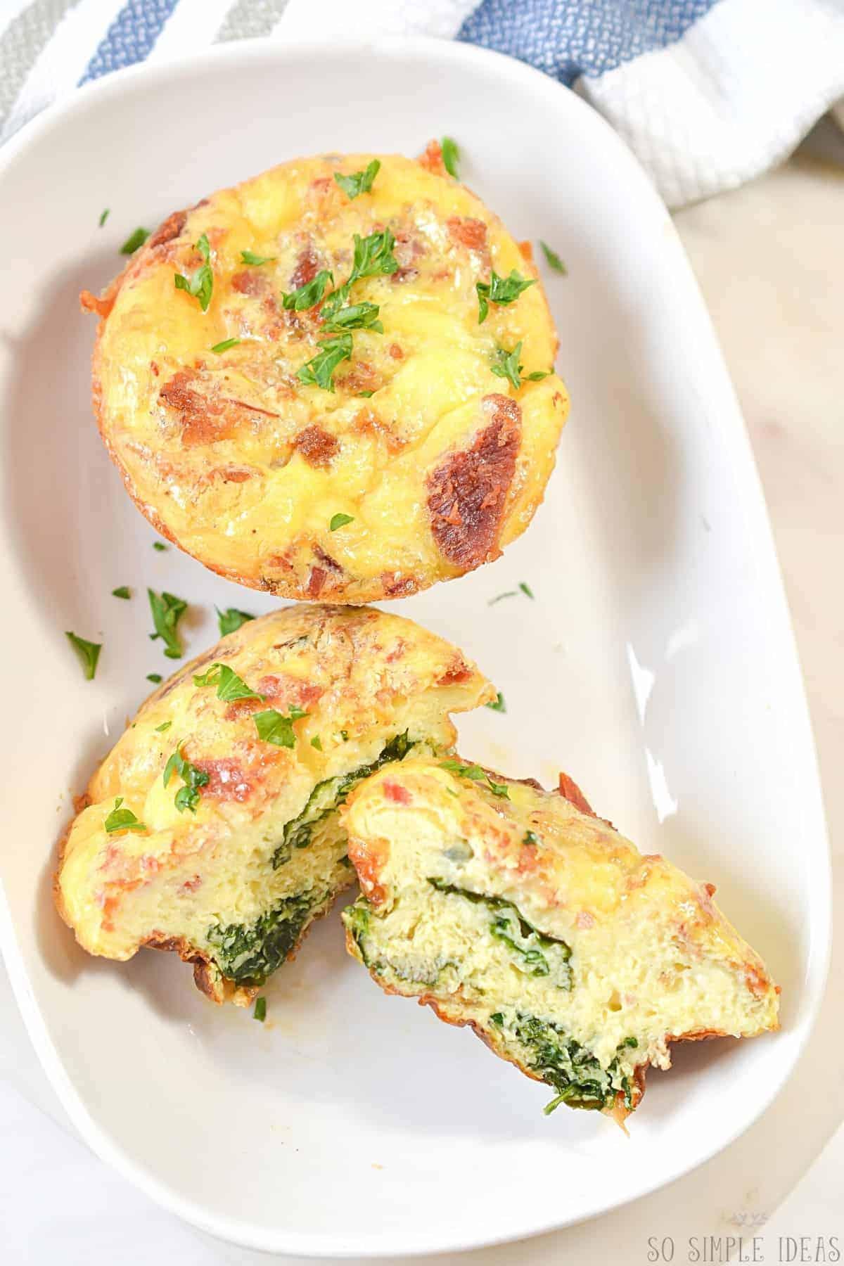 keto breakfast egg muffins on white serving plate