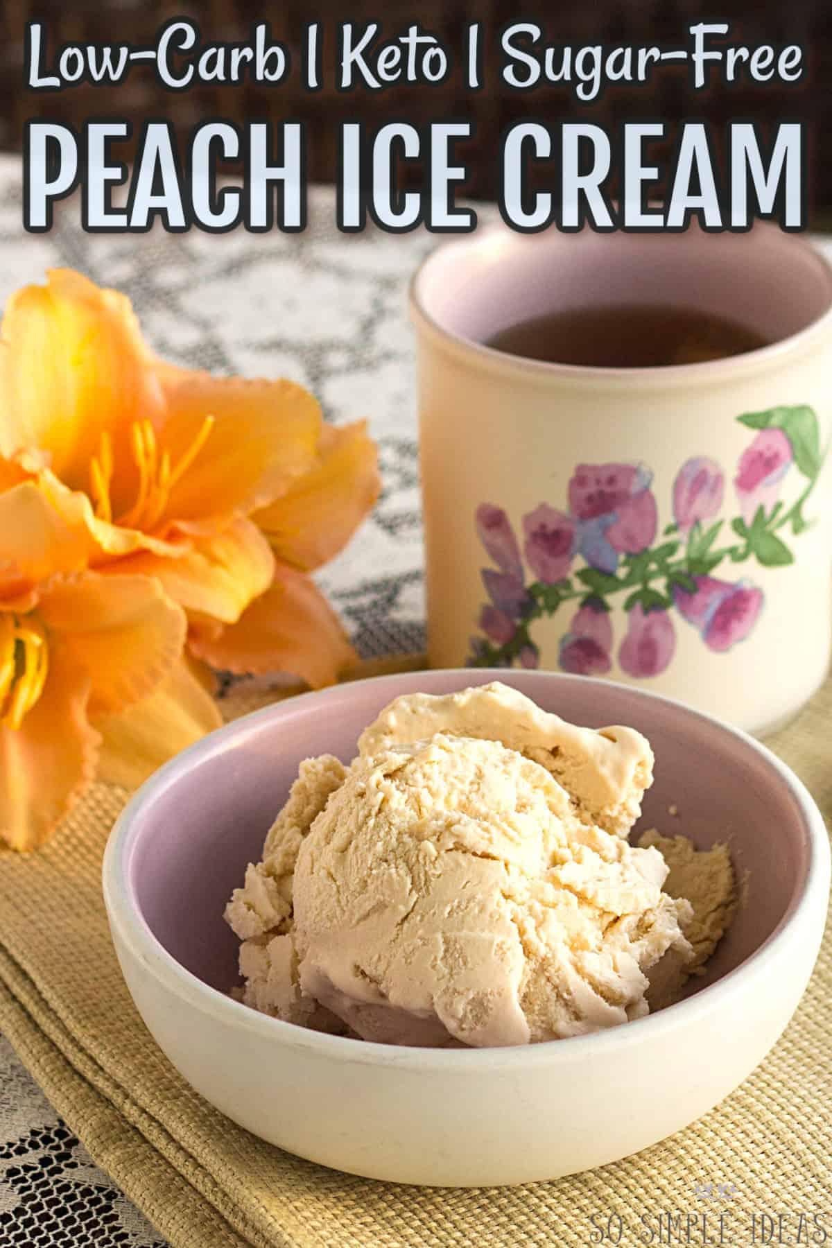 keto low-carb peach ice cream no eggs cover image