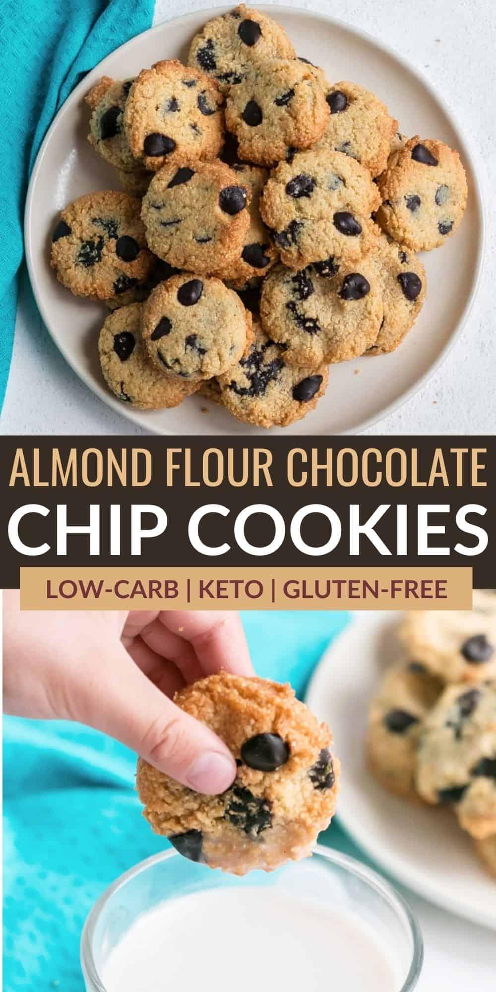 almond flour chocolate chip cookies pinterest image