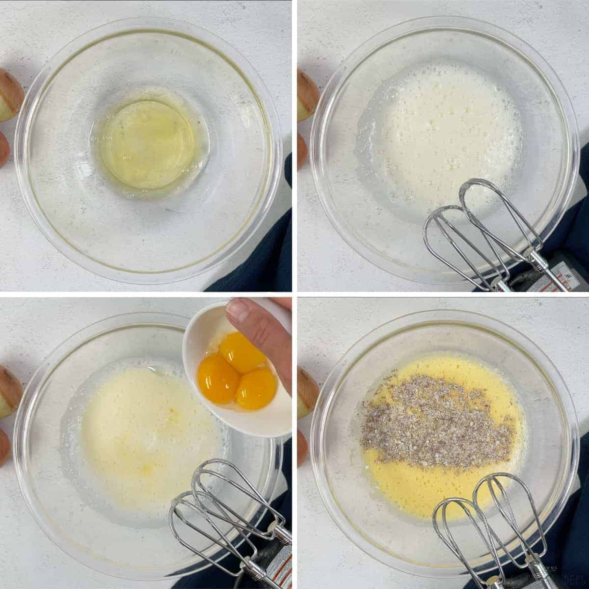 beating eggs and adding dry ingredients
