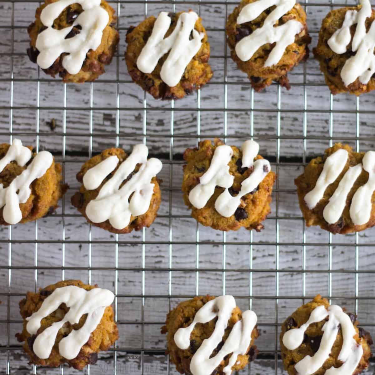 glazed cookies on rack